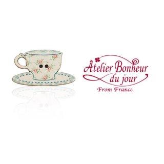 フランス輸入ボタン アトリエ・ボヌール・ドゥ・ジュール【花柄 カップ・ソーサー Blue】