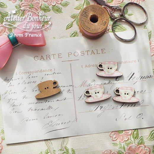 フランス輸入ボタン アトリエ・ボヌール・ドゥ・ジュール【花柄 カップ・ソーサー pink】【画像2】