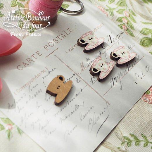 フランス輸入ボタン アトリエ・ボヌール・ドゥ・ジュール【花柄 カップ・ソーサー pink】【画像4】
