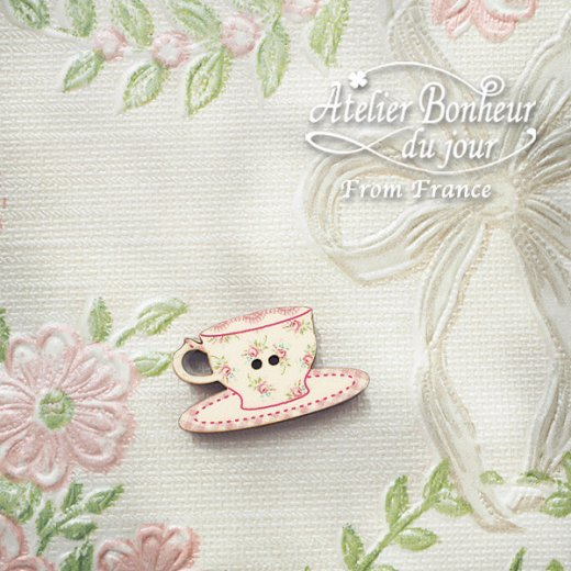 フランス輸入ボタン アトリエ・ボヌール・ドゥ・ジュール【花柄 カップ・ソーサー pink】【画像5】
