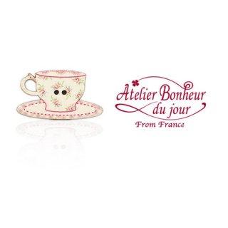 フランス輸入ボタン アトリエ・ボヌール・ドゥ・ジュール【花柄 カップ・ソーサー pink】