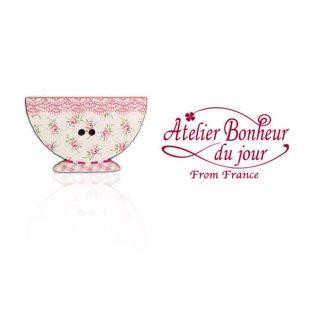 フランス輸入ボタン アトリエ・ボヌール・ドゥ・ジュール【花柄 カフェオレ・ボウル pink】