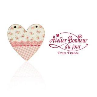 フランス輸入ボタン アトリエ・ボヌール・ドゥ・ジュール【花柄 ハート pink】