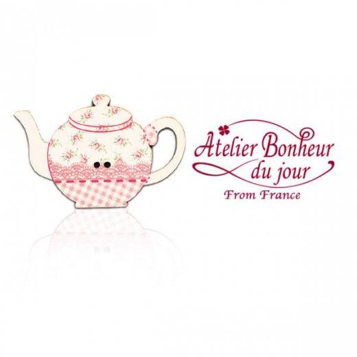 フランス輸入ボタン アトリエ・ボヌール・ドゥ・ジュール【花柄 ポット pink】