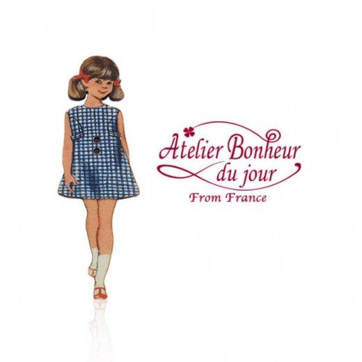 フランス輸入ボタン アトリエ・ボヌール・ドゥ・ジュール【青いチェックワンピースの女の子】