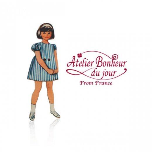 フランス輸入ボタン アトリエ・ボヌール・ドゥ・ジュール【ブルーストライプの女の子】