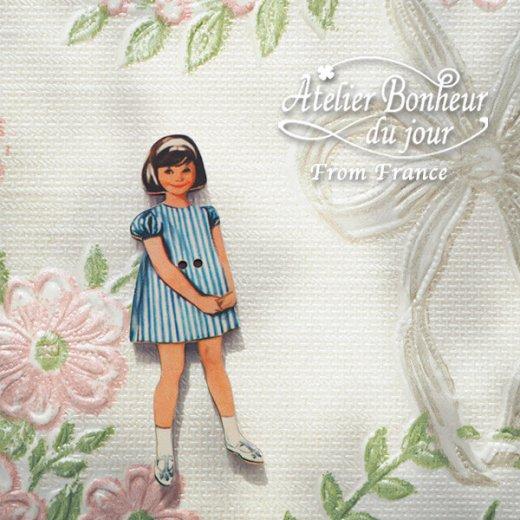 フランス輸入ボタン アトリエ・ボヌール・ドゥ・ジュール【ブルーストライプの女の子】【画像5】