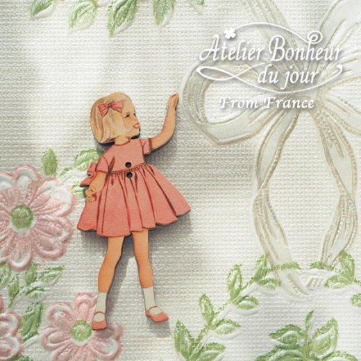 フランス輸入ボタン アトリエ・ボヌール・ドゥ・ジュール【ピンクドレスの女の子】【画像5】