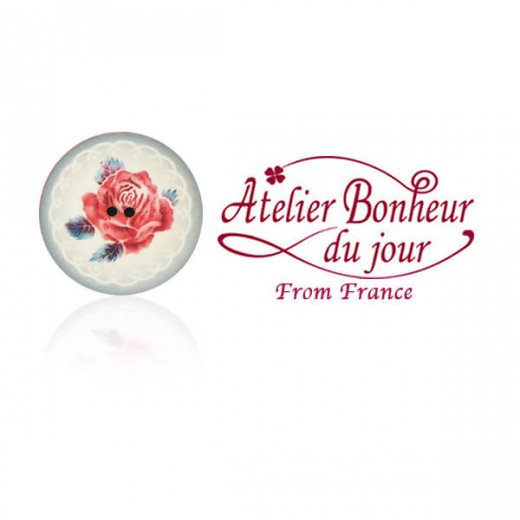 フランス輸入ボタン アトリエ・ボヌール・ドゥ・ジュール【バラのボタン 一輪】