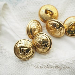 【単品売り】フランス 1950年代 メタル ボタン Sサイズ Marine Nationale 紋章 15mm(手芸素材/手芸用品)