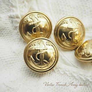 【単品売り】フランス 1950年代 メタル ボタンMサイズ Marine Nationale 紋章 20mm(手芸素材/手芸用品)