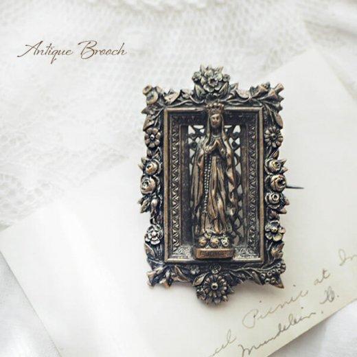 フランス蚤の市より アンティーク ファティマの聖母 マリア ローズブローチ 【画像5】