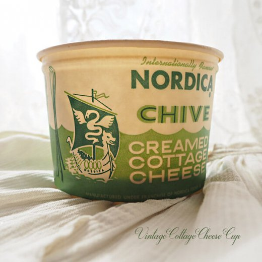 1950年代 デッドストック カッテージチーズカップ 【ノルディカ チャイブ】【画像3】