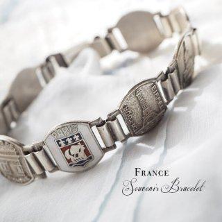 フランス アンティーク 蚤の市 パリ スーベニアブレスレット エッフェル塔 凱旋門(モニュメント メダル)