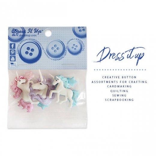 USA Dress It Up ボタン クラフト素材(ユニコーンと星)
