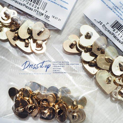 USA Dress It Up ボタン クラフト素材(ゴールドハート)【画像3】