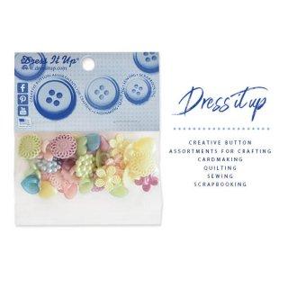 ガーリー 雑貨 USA Dress It Up ボタン クラフト素材(パステルアソート)