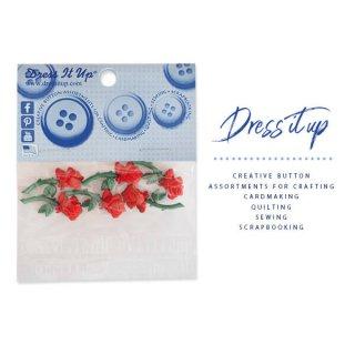 バラ ローズ 雑貨 USA Dress It Up ボタン クラフト素材(一輪/バラ・ROSE・ローズ)