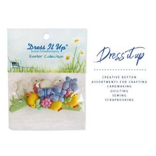 USA Dress It Up ボタン クラフト素材(イースター 復活祭 ひよこ・ひつじ)