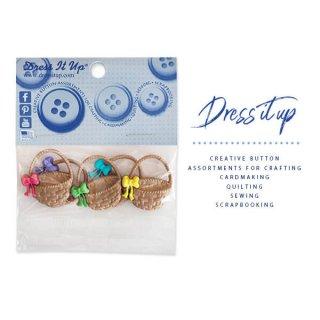 ガーリー 雑貨 USA Dress It Up ボタン クラフト素材(イースター 復活祭 バスケット)