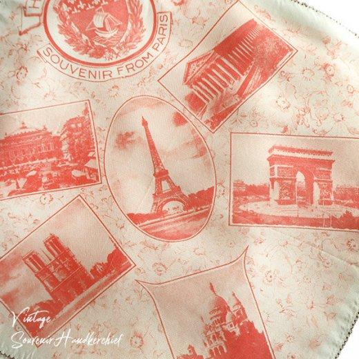 フランス蚤の市より 1940年代 アンティーク パリ エッフェル塔スーベニア 刺繍ハンカチーフ red【凱旋門・サクレ・クール寺院など】【画像2】
