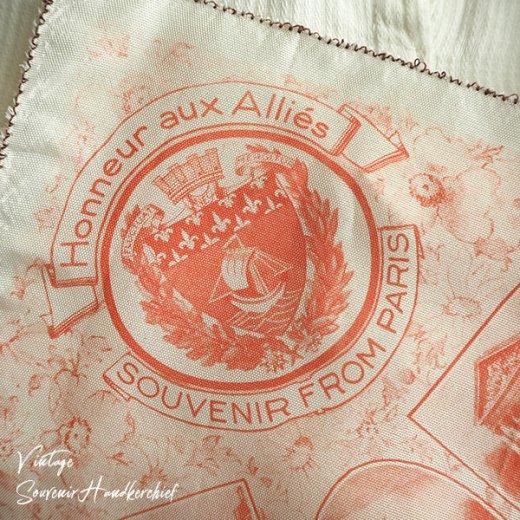 フランス蚤の市より 1940年代 アンティーク パリ エッフェル塔スーベニア 刺繍ハンカチーフ red【凱旋門・サクレ・クール寺院など】【画像3】