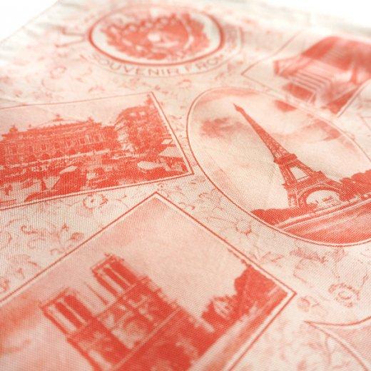 フランス蚤の市より 1940年代 アンティーク パリ エッフェル塔スーベニア 刺繍ハンカチーフ red【凱旋門・サクレ・クール寺院など】【画像4】