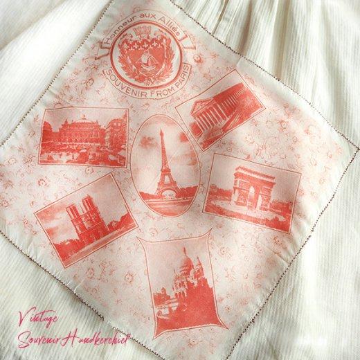 フランス蚤の市より 1940年代 アンティーク パリ エッフェル塔スーベニア 刺繍ハンカチーフ red【凱旋門・サクレ・クール寺院など】【画像10】