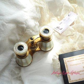 【送料無料】1900年初頭 フランス アンティーク LEMAIRE社 マザーオブパール(白蝶貝) オペラグラス