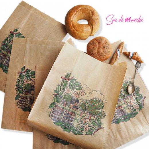 マルシェ袋 フランス 海外市場の紙袋(アン ポミエ)5枚セット