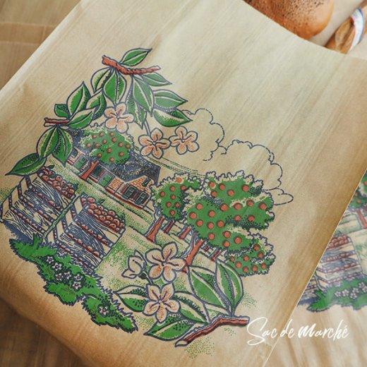 マルシェ袋 フランス 海外市場の紙袋(アン ポミエ)5枚セット【画像2】