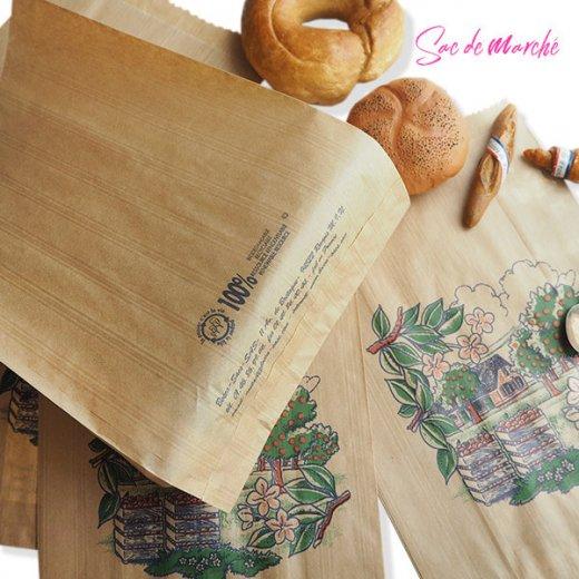 マルシェ袋 フランス 海外市場の紙袋(アン ポミエ)5枚セット【画像4】