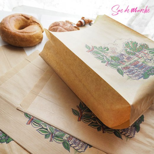 マルシェ袋 フランス 海外市場の紙袋(アン ポミエ)5枚セット【画像6】