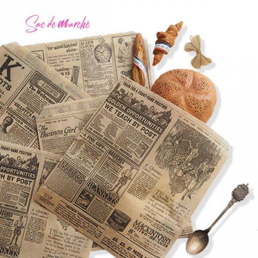 マルシェ袋 スペイン 海外市場の紙袋 三角包 (News Spaper)5枚セット