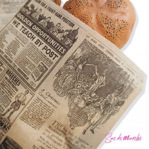マルシェ袋 スペイン 海外市場の紙袋 三角包 (News Spaper)5枚セット【画像3】