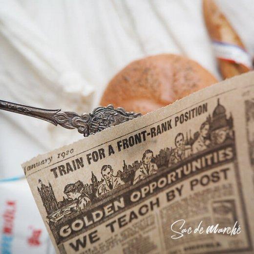 マルシェ袋 スペイン 海外市場の紙袋 三角包 (News Spaper)5枚セット【画像4】