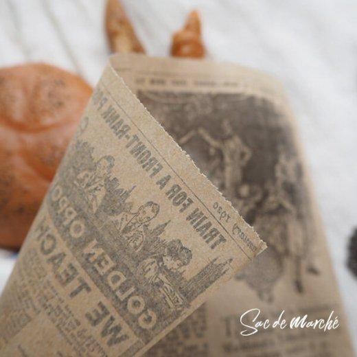 マルシェ袋 スペイン 海外市場の紙袋 三角包 (News Spaper)5枚セット【画像5】