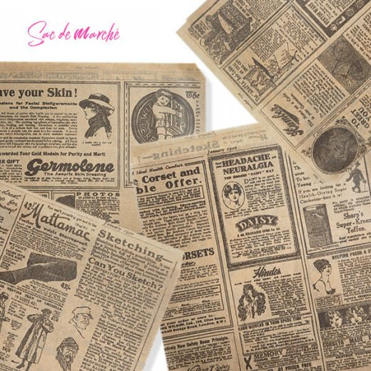 マルシェ袋 スペイン 海外市場の紙袋 三角包 (News Spaper)5枚セット【画像8】