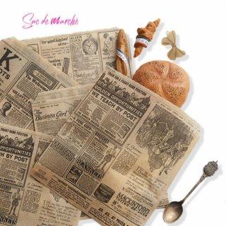 雑貨店でみつけたかわいい文房具 掲載雑貨 おすすめ雑貨 マルシェ袋 スペイン 海外市場の紙袋 三角包 (News Spaper)5枚セット
