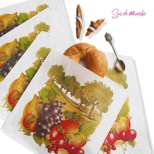 マルシェ袋 フランス 海外市場の紙袋(フルーツ樹木)5枚セット