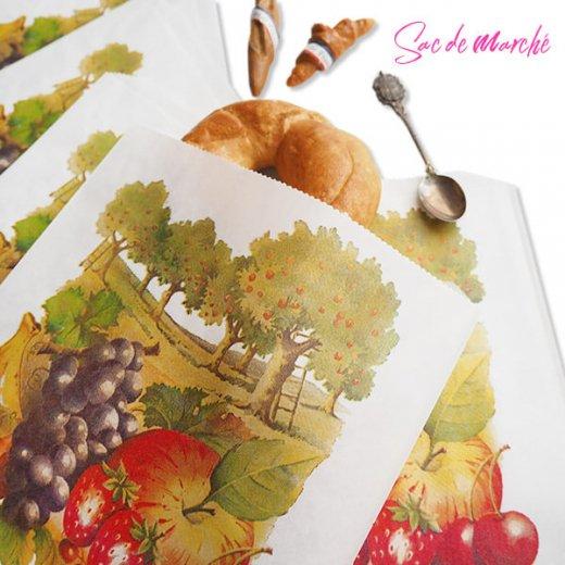 マルシェ袋 フランス 海外市場の紙袋(フルーツ樹木)5枚セット【画像2】
