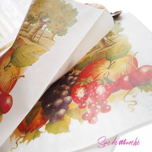 マルシェ袋 フランス 海外市場の紙袋(フルーツ樹木)5枚セット【画像4】
