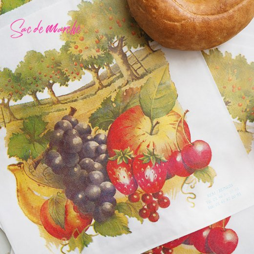 マルシェ袋 フランス 海外市場の紙袋(フルーツ樹木)5枚セット【画像5】