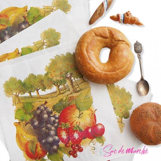 マルシェ袋 フランス 海外市場の紙袋(フルーツ樹木)5枚セット【画像7】