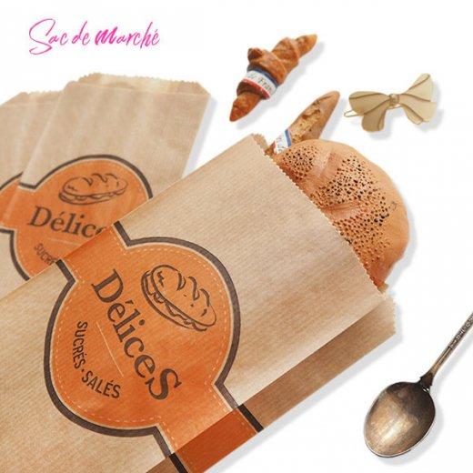 マルシェ袋 フランス 海外市場の紙袋(Delices・Craft)5枚セット【画像2】