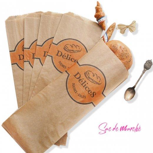 マルシェ袋 フランス 海外市場の紙袋(Delices・Craft)5枚セット【画像7】