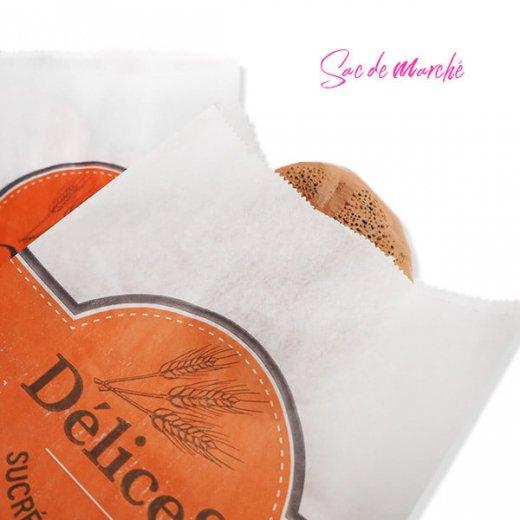 マルシェ袋 フランス 海外市場の紙袋(Delices・Orange)5枚セット【画像2】