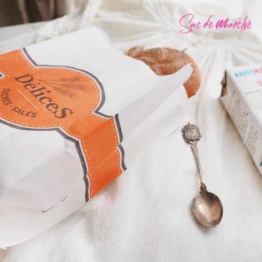 マルシェ袋 フランス 海外市場の紙袋(Delices・Orange)5枚セット【画像5】