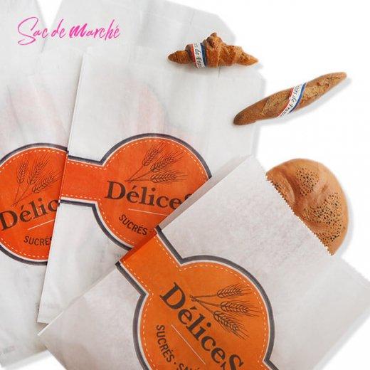 マルシェ袋 フランス 海外市場の紙袋(Delices・Orange)5枚セット【画像6】