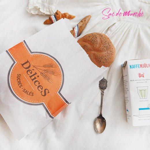 マルシェ袋 フランス 海外市場の紙袋(Delices・Orange)5枚セット【画像7】